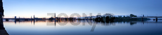 Riga cityline panorama in early morning