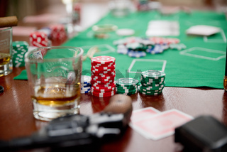 Playing chips on game table (normal version)