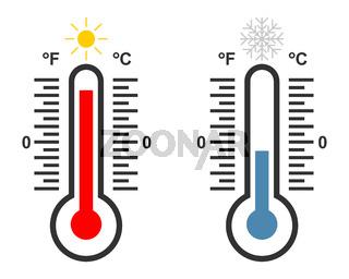 Themperaturanzeigen Wärme und Kälte - Thermometer with high and low temperature