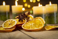 Fourth Sunday of Advent - Christmas decoration with candles and spices