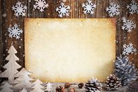 Old Paper With Christmas Decoration, Copy Space, Snowflakes