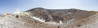 Panorama photo Crater from the volcano in Vulcano, Sicily, Italy