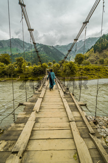 Bridge crossing Indus river in Pakistan