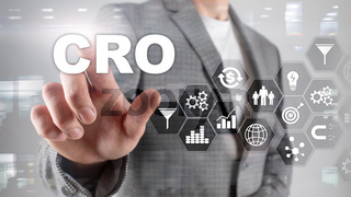 Conversion Rate Optimization. CRO Business Technology Finance concept on a virtual screen