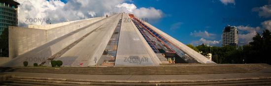 Exterior view to Pyramid of Tirana, Albania