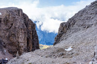 The Sass Pordoi is a relief of the Dolomites, in the Sella group, Italy