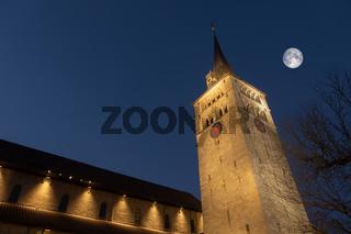 church Saint Martin in Sindelfingen Germany by night with moon