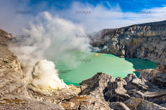 Kawah Ijen volcano with turquoise crater lake, East Java, Indonesia