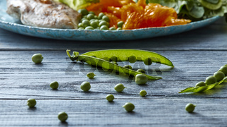 A pod of green peas is open on a gray table with ingredients for salad preparation - chicken meat, lettuce, sitrus fruit on a blue ceramic plate on a wooden gray table.