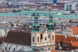 Vienna, Austria January 2, 2018. View from the observation platform St. Stephen's Cathedral Domkirche St. Stephan on the architecture of the city center, panoramic view from high
