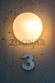 Three 3 Apartment Floor Number Map Wall Metal Light Decoration
