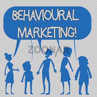 Text sign showing Behavioural Marketing. Conceptual photo targets consumers based on their behavior on Web sites Silhouette Figure of People Talking and Sharing One Colorful Speech Bubble.
