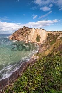 Bay and cliffs in El silenio beach, Cudillero, Asturias, Spain.