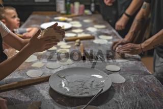 Dumpling making class in China