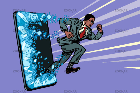 african businessman punches the screen Phone gadget smartphone. Online Internet application service program