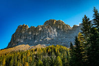 Panoramic view of the Rosengarten massif alpine mountains in the Schlern nature park area