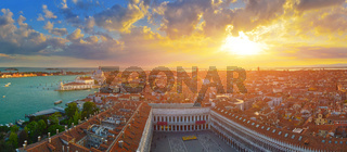 Panoramic top view of spring Venice at sunset