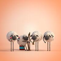 3d illustration four cute cartoon sheeps playing music on orange background