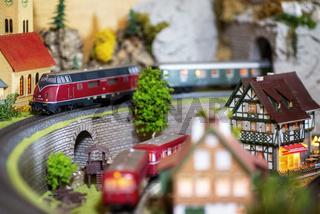 Detail einer Modellbahnanlage