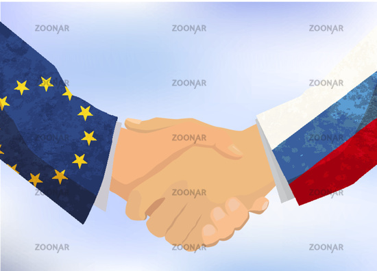 Russia and European Union handshake, concept illustration on blue sky