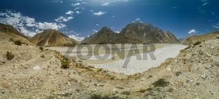 Panorama of a beautiful valley in Karakoram Mountain Range in Pakistan