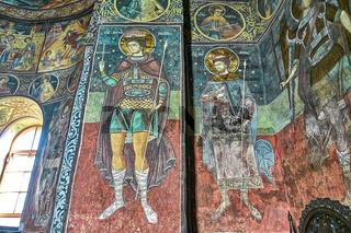 Byzantine wall paintings of saints inside Orthodox Church in Romania
