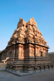 Decorated Gopura and walls, Deivanayaki Amman shrine, adjacent to Airavatesvara Temple, Darasuram, Tamil Nadu. View from North West.