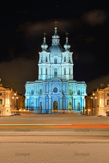 St. Nicholas Cathedral in Saint-Petersburg at night.