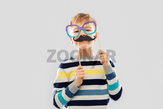 boy with glasses and black vintage moustaches