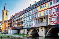 Blick Ansicht der Krämerbrücke Erfurt