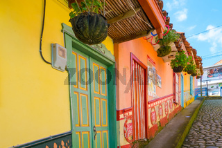 colored houses in the street of Guatape memories