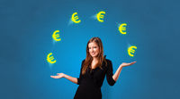 Person juggle with euro symbol