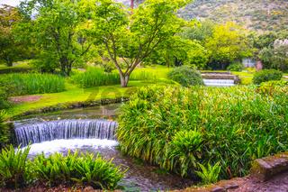 eden garden fairytale waterfall fountain in the Giardino di Ninfa - Cisterna di Latina - Lazio - Italy