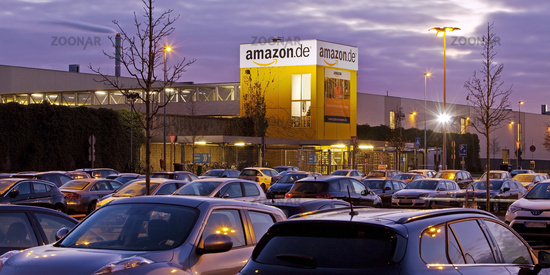 Parking at Amazon Logistics Center, Dusk, Rheinberg, North Rhine-Westphalia, Germany, Europe