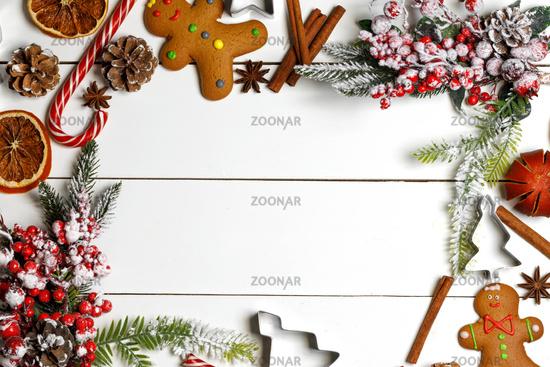 Christmas food on wood background
