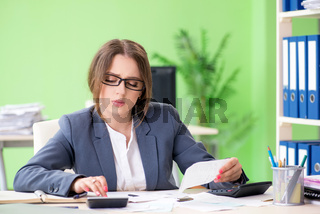 The female financial manager working in the office