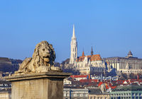 View of Matthias Church and Fisherman's Bastion in Budapest Hungary