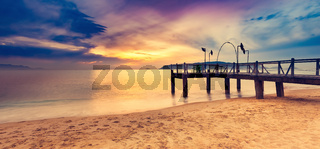 Sunrise over the sea. Amazing landscape. Panorama