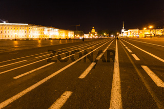 view of Palace Square in Saint Petersburg in night