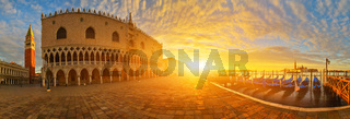 Panoramic view of San Marco square and Doge's palace at sunrise, Venice, Italy