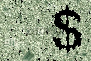 Geld formt Dollar-Zeichen $