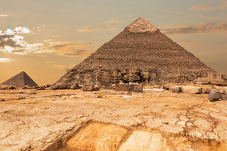 The Pyramid of Khafre and the Pyramid of Menkaure view in Giza, Egypt