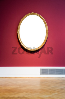 Round Art Museum Frame Red Wall Ornate Design White Isolated Clipping Path Template