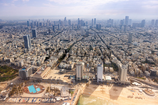 Tel Aviv skyline Israel beach aerial view city sea skyscrapers