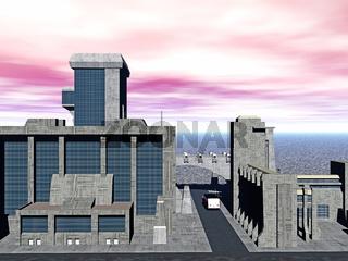 Industrie Komplex mit Hochhäusern