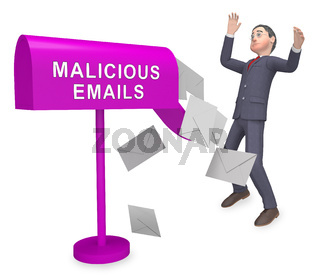 Malicious Emails Spam Malware Alert 3d Rendering