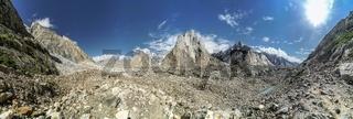 Breathtaking panorama of Karakoram Mountain Range from Baltoro Glacier on beautiful sunny day.