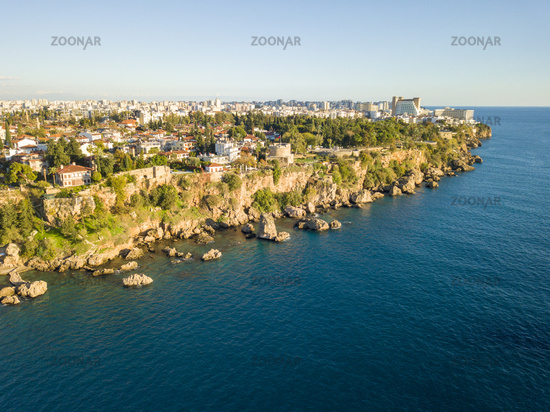 Aerial View Cliffs Kaleici Old Town Antalya Turkey