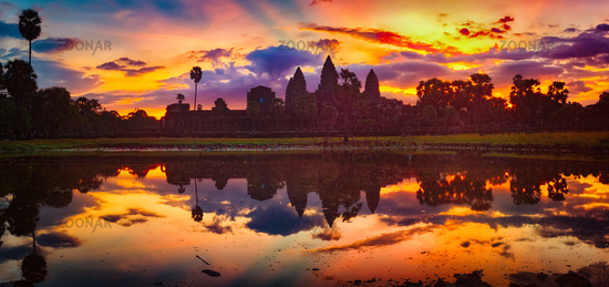 Angkor Wat temple at sunrise. Siem Reap. Cambodia. Panorama