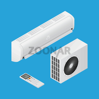Realistic detailed isometric 3d air conditioning for home